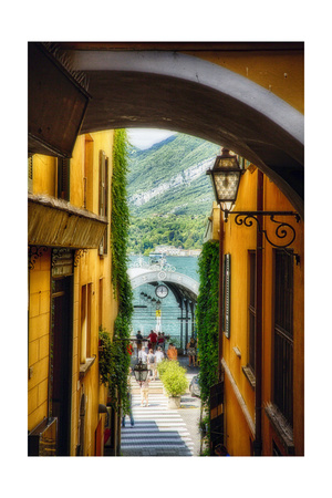 Alley With a Lake View, Bellagio, Lake Como, Italy Photographic Print by George Oze