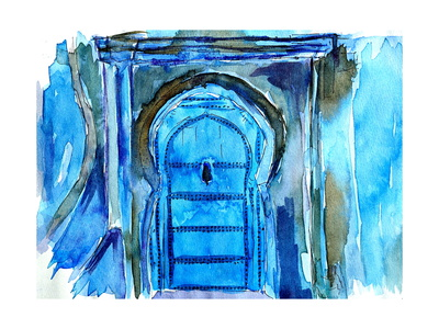 Chefchaouen Morocco Blue Door Watercolor Posters by Markus Bleichner