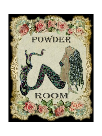 Powder Room Mermaid With Vintage Roses Photographic Print By Sylvia Pimental