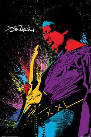 Jimi Hendrix- Neon Burst Affiches