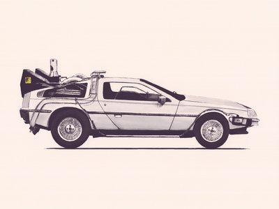 Delorean Back To The Future Kunsttryk