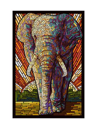 Elephant - Paper Mosaic Metal Print by  Lantern Press