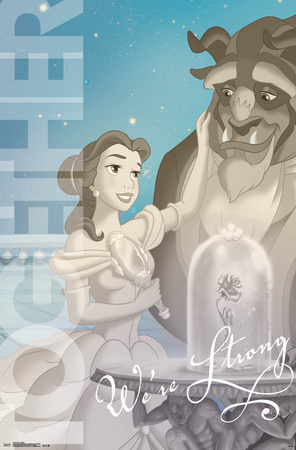 Beauty and the Beast Disney movie poster; together we're strong quote