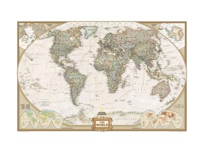 Verdenskort, professionel stil Kunst på metal af  National Geographic Maps