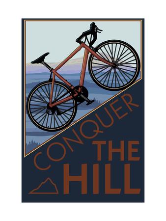 Conquer the Hill - Mountain Bike Metal Print by  Lantern Press