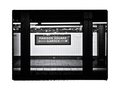 Subway Sign, Black and White Photography, Madison Square Garden, Manhattan, New York, United States Metal Print by Philippe Hugonnard