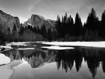 Half Dome Above River and Winter Snow, Yosemite National Park, California, USA Premium Photographic Print by David Welling