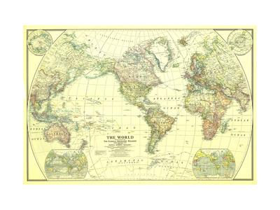 1922 World Map Kunst på metal af  National Geographic Maps