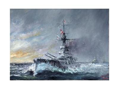 HMS Iron Duke, 'Equal Speed Charlie London' Jutland 1916, 2015 Giclée-tryk af Vincent Alexander Booth