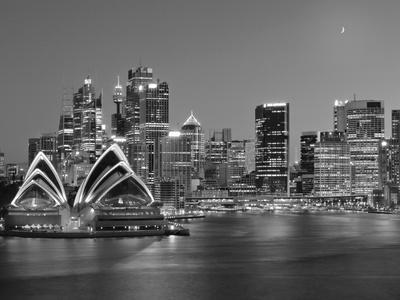 Australia, New South Wales, Sydney, Sydney Opera House, City Skyline at Dusk Photographic Print by Shaun Egan