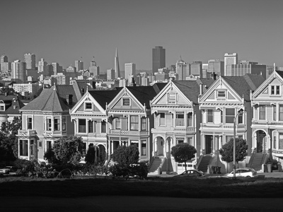 Alamo Square and City Skyline, San Francisco, California Usa Photographic Print by Gavin Hellier