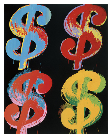 $4, 1982 (blue, red, orange, yellow) Posters by Andy Warhol