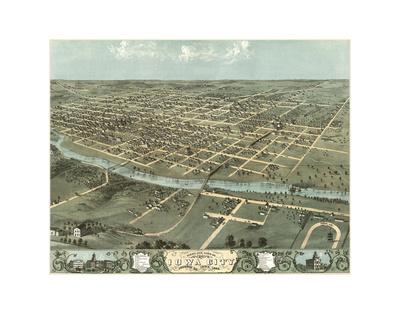 Bird's Eye View of Iowa City, Iowa, 1868 Prints by A. Ruger