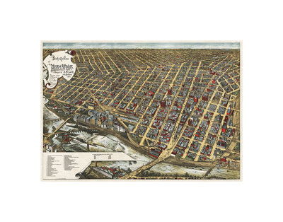Bird's Eye View of Minneapolis, Minnesota, 1891 Posters by Frank Pezolt