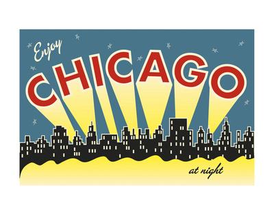 Chicago skyline Affischer av  Vintage Reproduction
