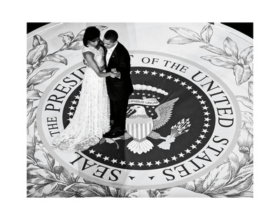 President Obama and The First Lady (b/w) Art by  Celebrity Photography