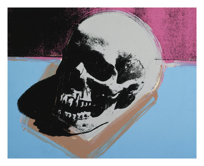 Skull, 1976 (white on blue and pink) Posters by Andy Warhol