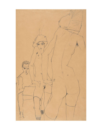 Schiele with Nude Model before the Mirror, 1910 Poster by Egon Schiele