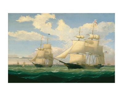 """The Ships """"Winged Arrow"""" and """"Southern Cross"""" in Boston Harbor, 1853 Posters by Fitz Hugh Lane"""
