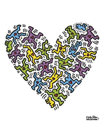 Untitled, 1985 (heart) Stampe di Keith Haring