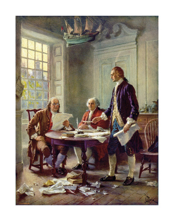Writing the Declaration of Independence, 1776 Art by Jean Leon Gerome Ferris