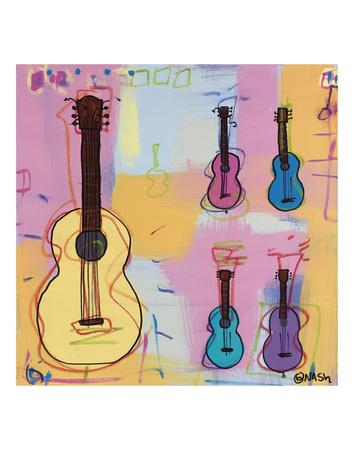 Guitar, Whoooo Poster by Brian Nash