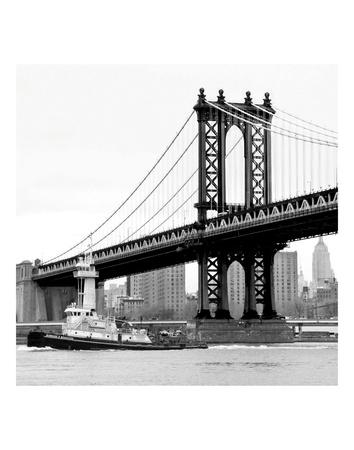 Manhattan Bridge with Tug Boat (b/w) Posters by Erin Clark