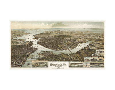 Panorama of Norfolk, Virginia, and Surroundings, 1892 Print by  Wellge