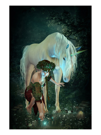 Girl Unicorn and Fireflies  Posters