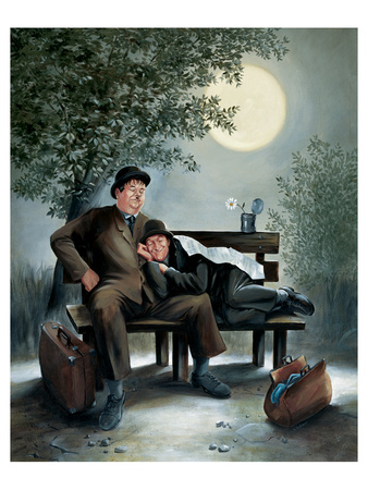 Laurel & Hardy Overnight Bench Art by Renate Holzner