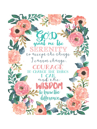 Serenity Prayer Floral Poster by Jo Moulton