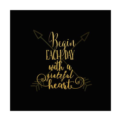 Begin Each Day Arrows Gold on Black Posters by Tara Moss