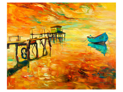Sunset Boat and Jetty Painting Posters