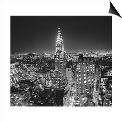 Chrysler Building at Night, East View 2 - New York City Iconic Building, Top View Lámina Magnetic Art