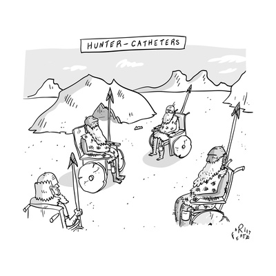 Hunter-Catheters -- Stone-Age warriors sit in early wheelchairs.  - New Yorker Cartoon Giclee Print by Farley Katz