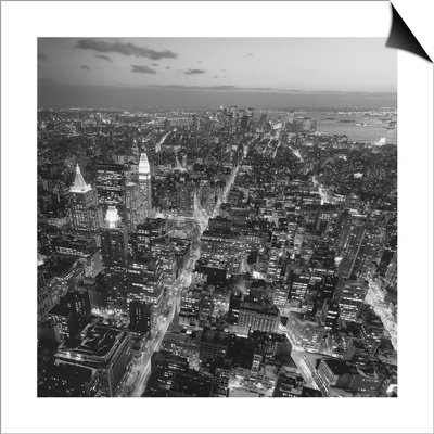 Manhattan, South View from Midtown 3 - New York City at Night, Top View Lámina Magnetic Art