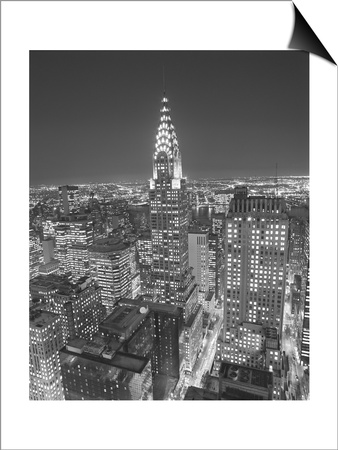 Chrysler Building at Night, East View - New York City Iconic Building, Top View Lámina Magnetic Art