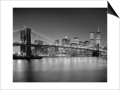 Brooklyn Bridge at Night 1 - New York City Landmarks Lámina Magnetic Art