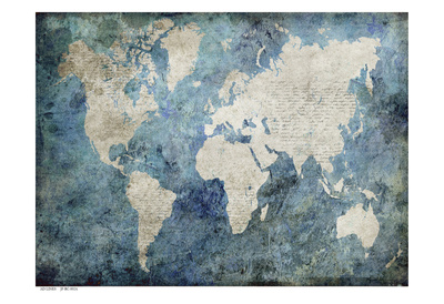 World Map Blue Art by Jane Fox!