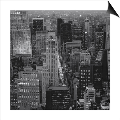 Fifth Avenue, North View, Evening - New York City Top View Lámina Magnetic Art