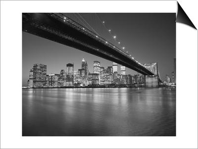 Under the Brooklyn Bridge - Lower Manhattan at Night Lámina Magnetic Art