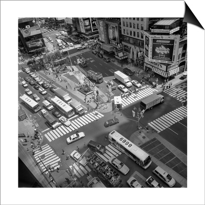 Times Square Fromm Above, Buses - New York City Landmarks Lámina Magnetic Art