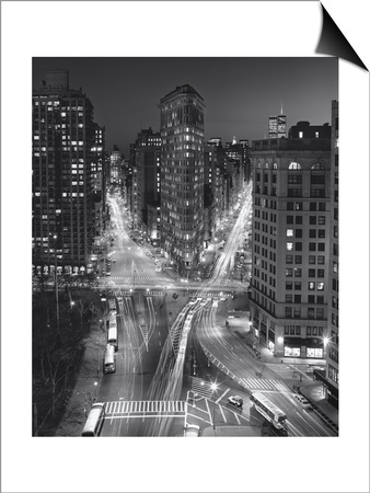 Flat Iron Building, Night 4 - New York City Landmarks Lámina Magnetic Art