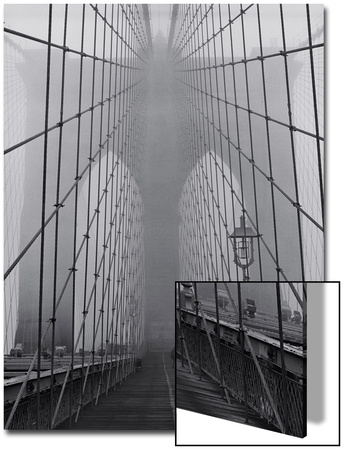 On the Brooklyn Bridge, Fog, Close-Up - New York City Icon Poster by Henri Silberman