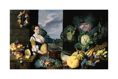 Cookmaid with Still Life of Vegetables and Fruit Giclee Print by Sir Nathaniel Bacon