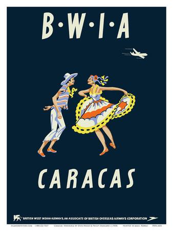 Caracas, Venezuela - British West Indies Airways BWIA Prints by  Pacifica Island Art