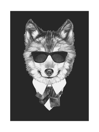 Portrait of Wolf in Suit. Hand Drawn Illustration. Posters by  victoria_novak