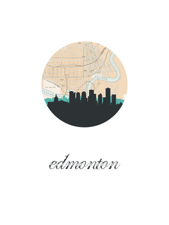 Edmonton Map Skyline Prints