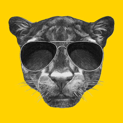 Portrait of Panther with Sunglasses and Collar. Hand Drawn Illustration. Prints by  victoria_novak