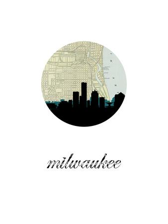 Milwaukee Map Skyline Print